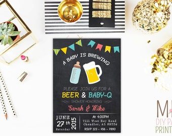 A Baby is Brewing Invitation_2,Beer Baby Shower,couples baby shower,BaByQ Baby Shower Invitation,Baby is Brewing,Chalkboard Invitation