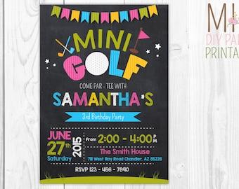Golf Invitation - Mini Golf Invitation - Miniature Golf Invitation - Mini Golf Birthday - Miniature Golf Birthday - Girl Golfing Invitation