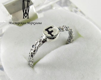 Silver Ring Letter F,Handmade Sterling Silver Letter Ring,Initial Ring / Sterling Silver Initial Ring / Personalized Initial Ring /