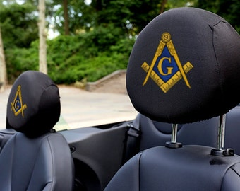 Masonic Lodge Auto SUV Head Rest Covers