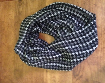 Black, Ivory and Grey Houndstooth Infinity Scarf