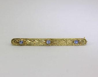 Antique blue topaz bar pin brooch 14K yellow gold 3 European gems .25CT ornate