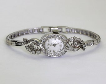Antique diamond watch all 14K white gold LaFemme 38 rounds & baguettes 1.05CT!!