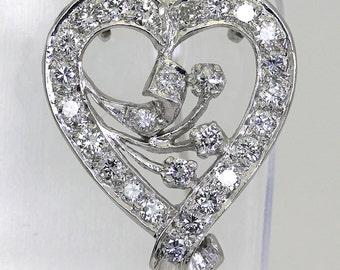 Diamond vintage heart brooch pin pendant platinum 14K 27 round brilliants 1.30CT