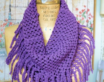 Boho Chic Infiniti Scarf with Fringe ~ Dark Orchid ~ FREE SHIP