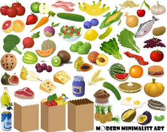 60 PNGS, Food Clipart, Grocery Clipart, Grocery Shopping, Food, Fruit, Vegetables, Fish, Meat, Dessert, Apples, Grocery Bags Clipart, Dairy