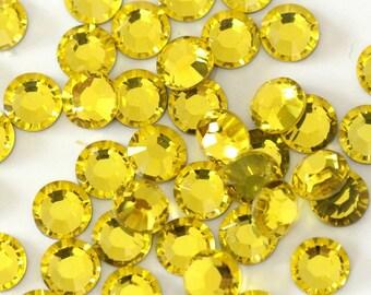 144pcs Flat Back Crystal Rhinestones Citrine Yellow small packet loose flatback rhinestones crystals beads glass 2mm 3mm 4mm 5mm 6mm