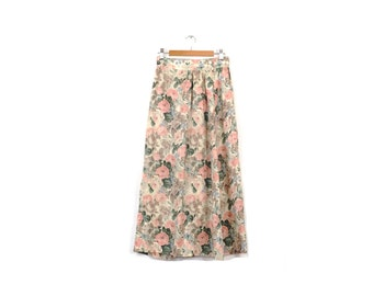 Vintage muted floral maxi skirt / Classic Pendelton washed out skirt / X-small long skirt / Pleated flower skirt / Perfect 90s skirt