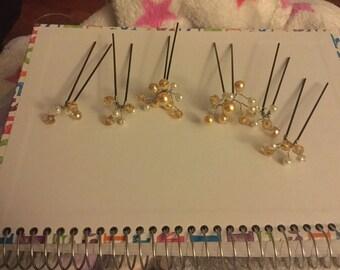 6 swarovski crystal element hair pins. Wedding/party hair