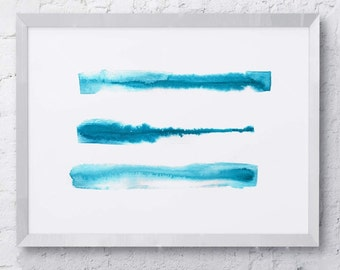 Abstract Watercolor Line Print