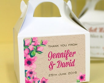 Personalised Wedding Favours / Cup Cake Boxes - Rustic Kraft Floral