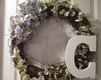 Monogrammed Hydrangea Wreath