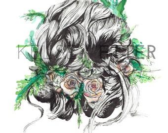 INSTANT DOWNLOAD Fashion Illustration- Floral Bridal Updo