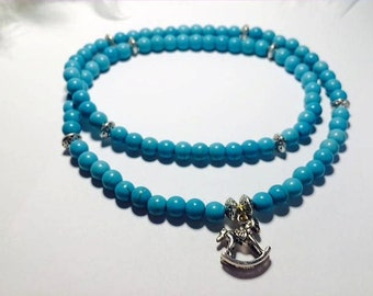 Turquoise Bead Necklace and his horse