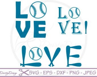 Love Baseball SVG for cutting machines, SVG files Baseball, silhouette DXF files, Vinyl cut, svg files for cricut baseball, Silhouette files