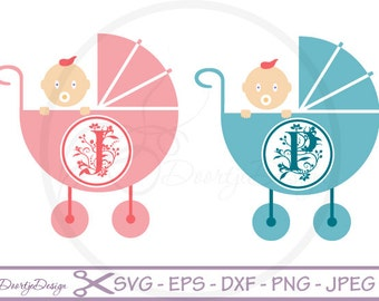 Circle Monogram Frame for cutting machines, SVG files Baby Carriage, EPS, dxf, Png,cricut, silhouette files, svg baby carriage circle