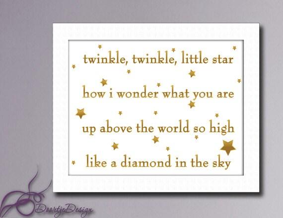 Gold Star Wall Decor: Wall Art Gold Twinkle Twinkle Little Star Wall Art Nursery
