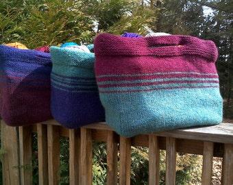 Felted Bag - hand knitted bag - market bag - tote bag