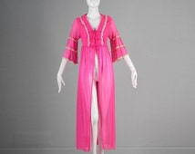 10% OFF Vintage 60s Hot Pink Bell Sleeve Lace Trim Peignoir Robe Lingerie Sheer