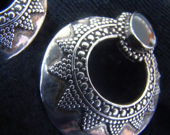 Onyx Clip Earrings Sterling Silver beadwork Vintage - Indonesian Sterling Silver & Black Onyx Clip Earrings Handcrafted and Folkloric