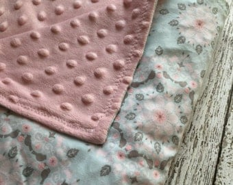 Blue and Pink Floral Minky Baby Blanket