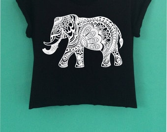 ELEPHANT Crop Top have a  screen design handmade size S - M-L.