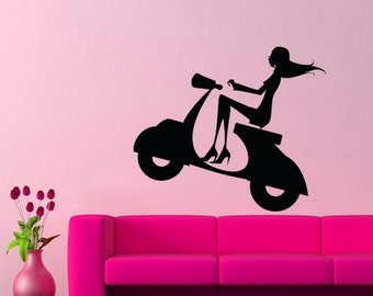 Scooter wall decal vespa wall decal vespa on the wall vespa wall art vespa wall decor vespa silhouette wall decal (Z251)