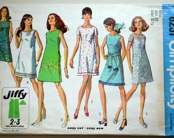 1960s Simplicity Vintage Sewing Pattern 8231, Size 10; Misses' Jiffy Dress
