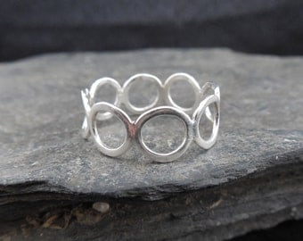 Bubble ring, sterling silver 0.925, circle ring, infinity ring, eternity band, engagement ring.