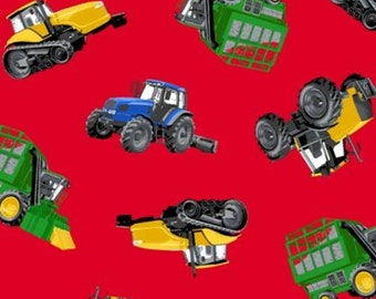 Tractors Red Fleece Fabric Style# J 72488 By The Yard