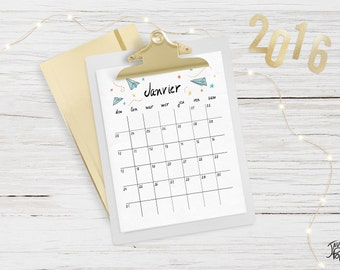 Printable 2016 calendar - monthly - Instant download - French
