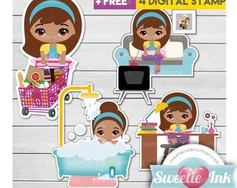 Active Girl 2 - A Kawaii Clipart Book TV shower shopping