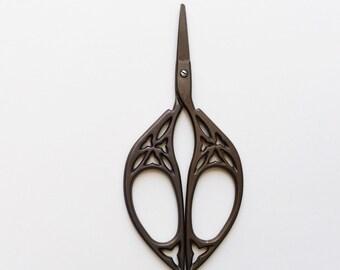 Dark Bronze Vintage Style Scissors/Embroidery Scissors/Cross Stitch Scissors/Sewing Scissors/Unique Scissors/Small Scissors/Small Scissors