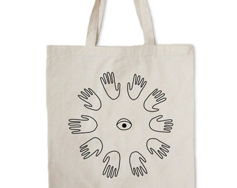 Big Alien Palm Ring Tote --  Hand and eye tote bag -- Canvas Tote