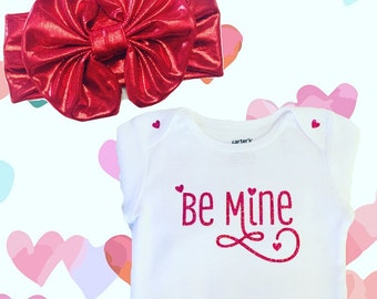 Be Mine,Valentine's Day,Hearts,Kisses,Hugs,Love,Cupid,Bodysuits,Baby Girl Bodysuits,Baby Girl's Fashion, Girls Clothing, Girls Clothing,Tops