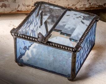 Jewelry Box Blue Glass Box Keepsake Gift Glass Jewelry Box Vintage  Jewelry Box Gift for Her Blue Home Decor Bridesmaid Gifts Box 185-3