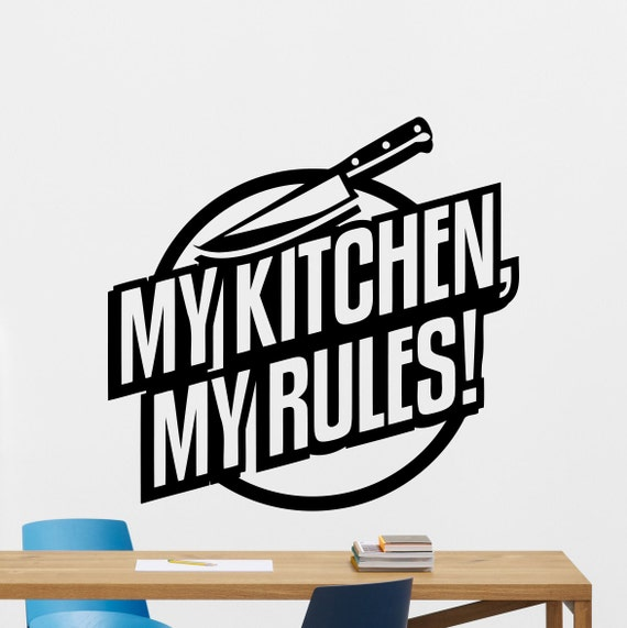 kitchen wall decal my kitchen my rules knife vinyl by