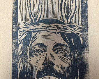 Bunny ears jesus linoleum block print signed and numbered charles state