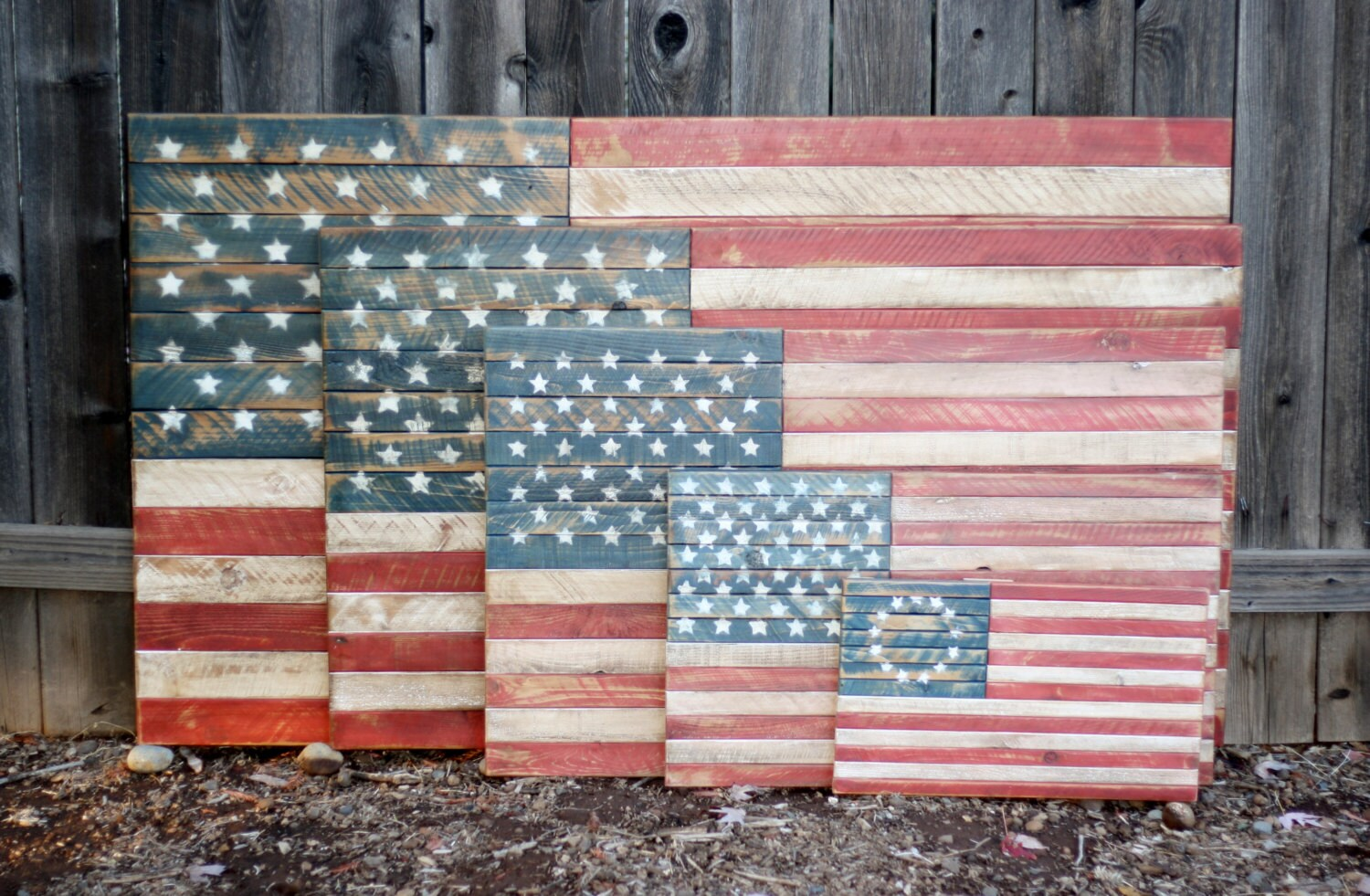 Wooden American Flag Rustic Distressed Wall Art Americana