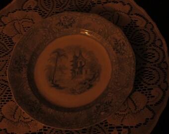 Ironstone Frisburg Davenport Blue Transferware plate