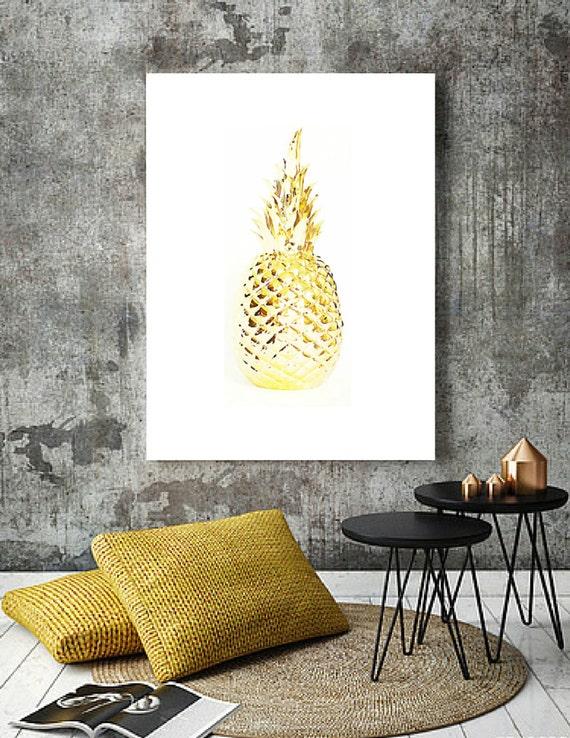 Affiche ananas dor tableau scandinave d coration murale for Decoration murale scandinave