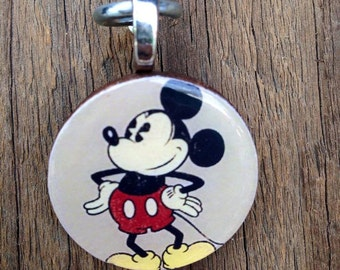 Mickey mouse wood pendant