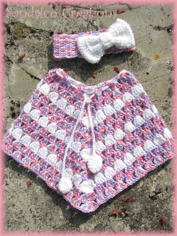 poncho et bandeau gros noeud pour b b 24 mois tricot main au. Black Bedroom Furniture Sets. Home Design Ideas