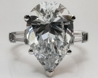 10.00 ctw. Pear Shape Set  with Baguettes Engagement/Wedding/Anniversary/Promise Ring Solid 14K White Gold #4705