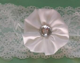 White satin flower baby and children's lace headband