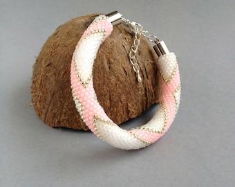 Handmade beaded crochet rope bracelet