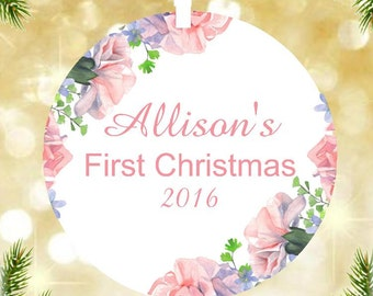 Watercolor Floral Personalized Baby's First Christmas Ornament Modern Keepskae by lovebirdschristmas