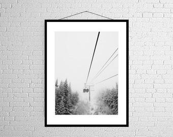 Mountainside Ski Lift | Large Scale Photograph | Wall decor | Landscape | Winter Photo