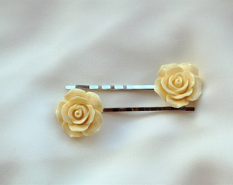 White Rose Bobby Pins