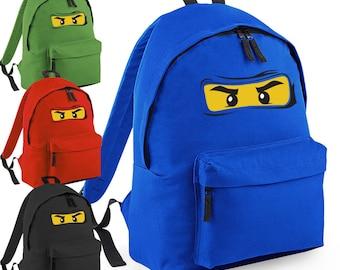 Lego Ninjago Inspired Bag Ninja Face Backpack School Fun College Work Rucksack